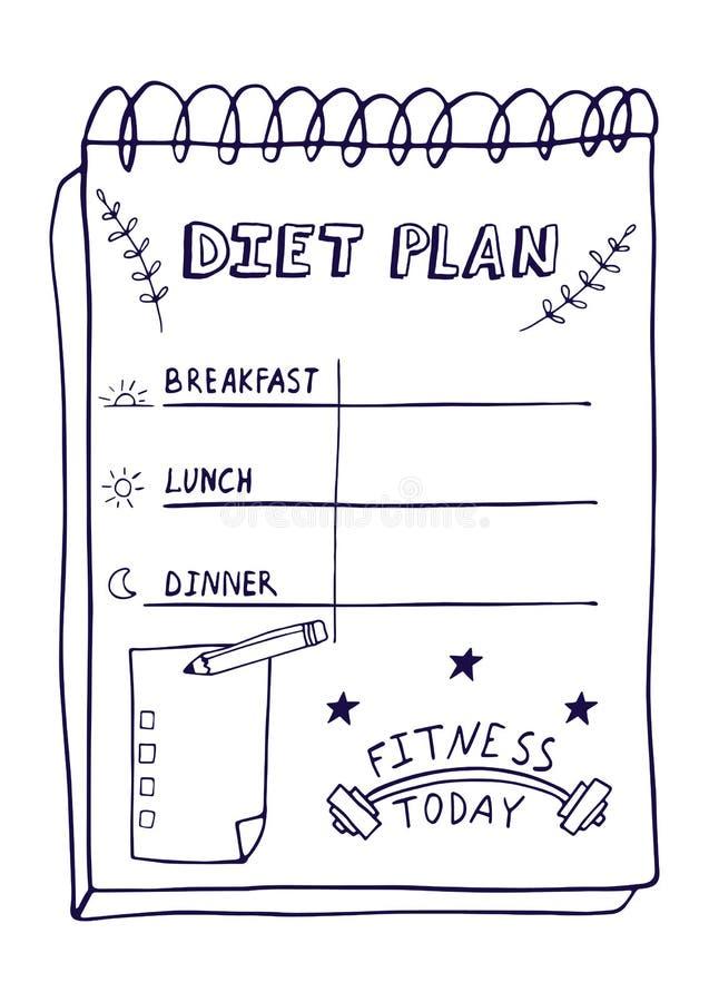 Ilustração dos desenhos animados do plano da nutrição Plano tirado mão da dieta no estilo da garatuja para o café da manhã fotografia de stock royalty free