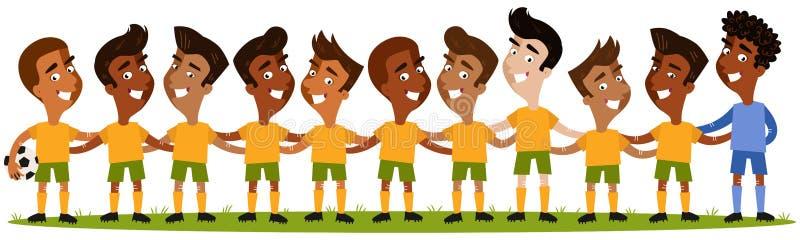 Ilustração dos desenhos animados do sul - formação americana da equipa de futebol do ` s dos homens que está no campo de futebol ilustração royalty free