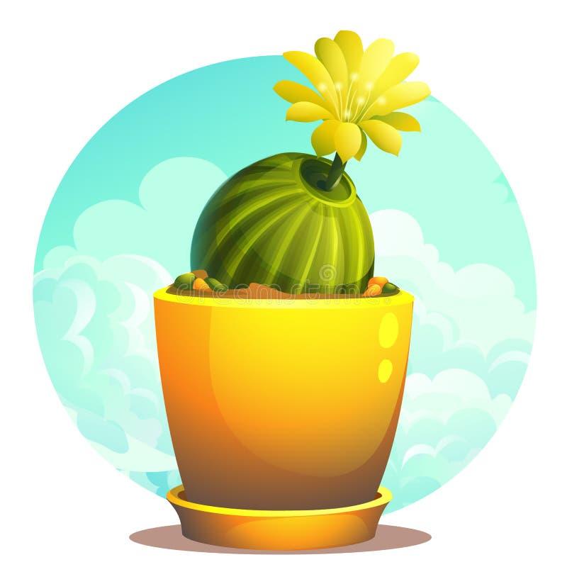 Ilustra??o dos desenhos animados do vetor do cacto em um potenci?metro de flor ilustração stock