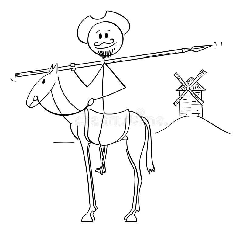 Ilustração dos desenhos animados do vetor do cavaleiro no cavalo - Don Quijote, caráter do cavalheiro engenhoso Sir Quixote do La ilustração stock