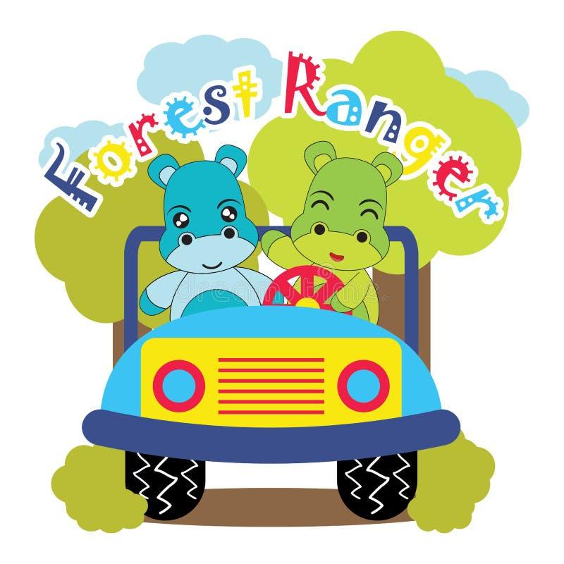 A ilustração dos desenhos animados do vetor com os hipopótamos bonitos do bebê conduz o carro da selva em fundo listrado ilustração stock