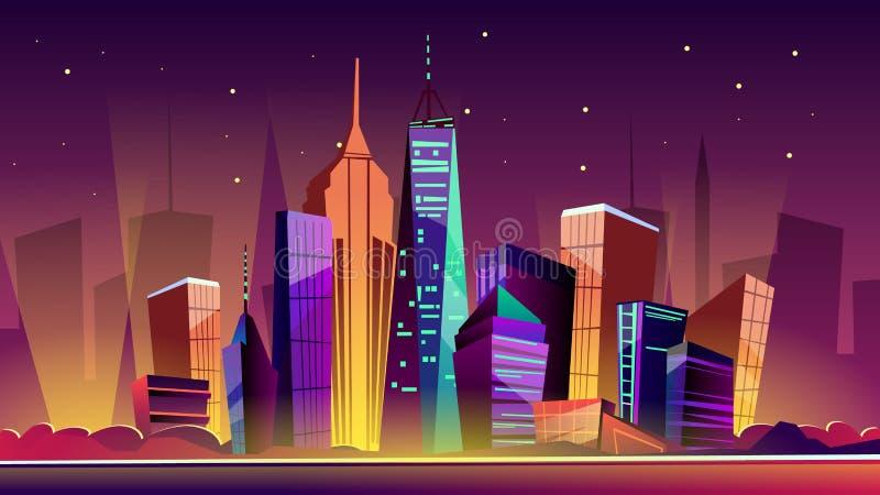 Ilustração dos desenhos animados do vetor da arquitetura da cidade da noite de New York ilustração stock