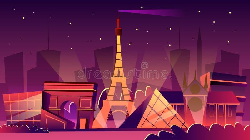 Ilustração dos desenhos animados do vetor da arquitetura da cidade da noite de Paris ilustração royalty free
