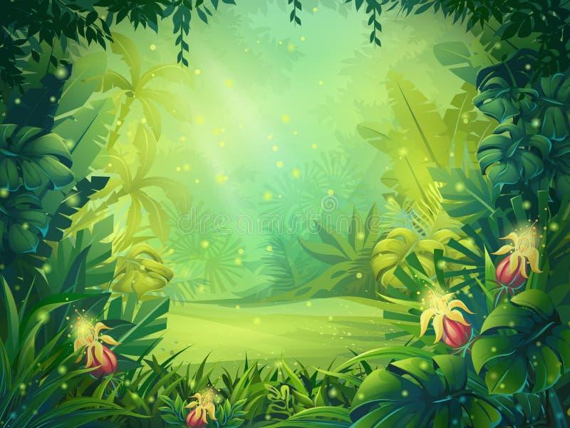 Ilustração dos desenhos animados do vetor da floresta úmida da manhã do fundo ilustração stock