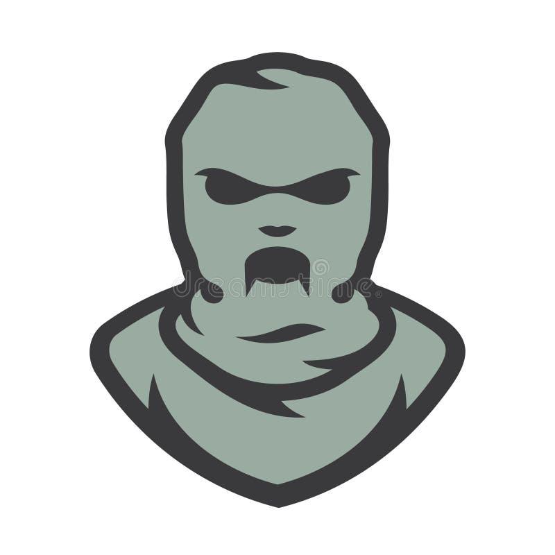 Ilustração dos desenhos animados do vetor da máscara do zombi do passa-montanhas ilustração stock