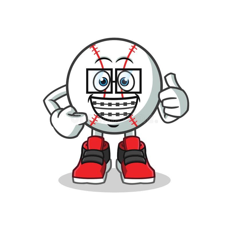 Ilustração dos desenhos animados do vetor da mascote do basebol do totó ilustração stock