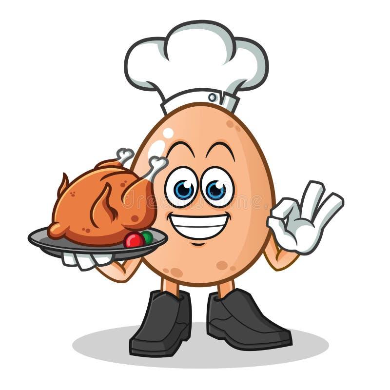 Ilustração dos desenhos animados do vetor da mascote do cozinheiro chefe do ovo foto de stock