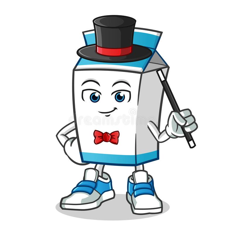 Ilustração dos desenhos animados do vetor da mascote do mágico do leite ilustração do vetor