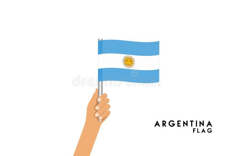 A ilustração dos desenhos animados do vetor das mãos humanas guarda a bandeira de Argentina ilustração royalty free