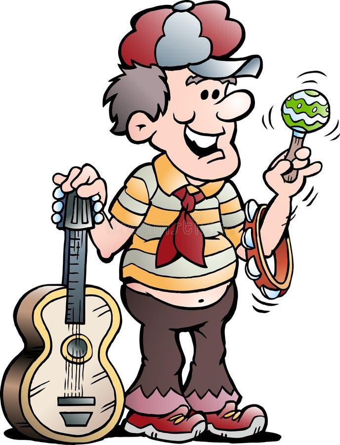 Ilustração dos desenhos animados do vetor de um jogador de música feliz da guitarra ilustração royalty free