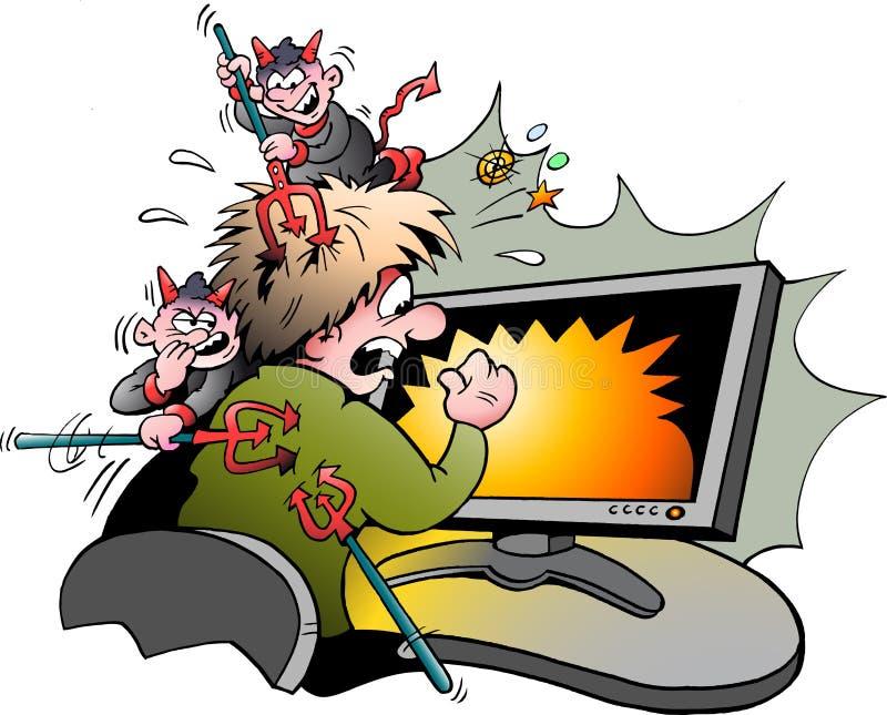 Ilustração dos desenhos animados do vetor de um surfista do computador que seja atacado por vírus perigosos ilustração stock