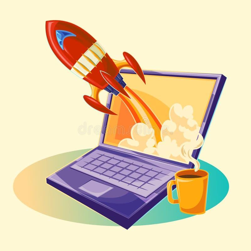 Ilustração dos desenhos animados do vetor do conceito startup do projeto do negócio, o lançamento de um projeto de investimento n ilustração stock