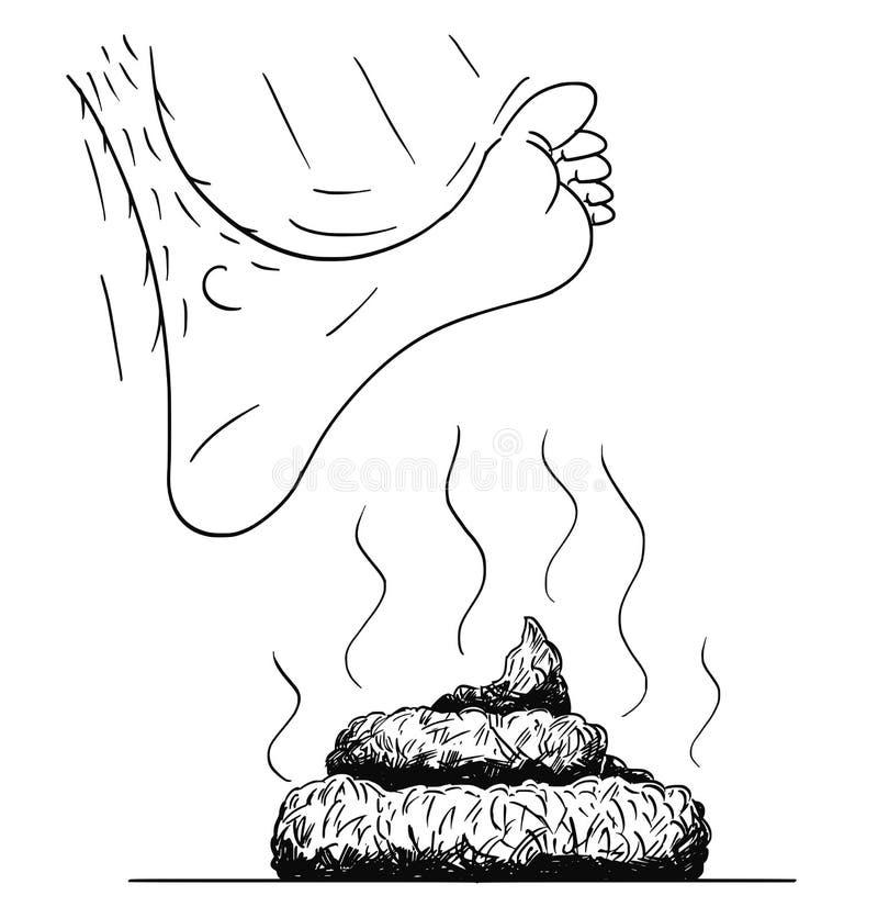 Ilustração dos desenhos animados do vetor e desenho do pé desencapado que pisam ou que carimbam no excremento ou o tombadilho ou  ilustração do vetor