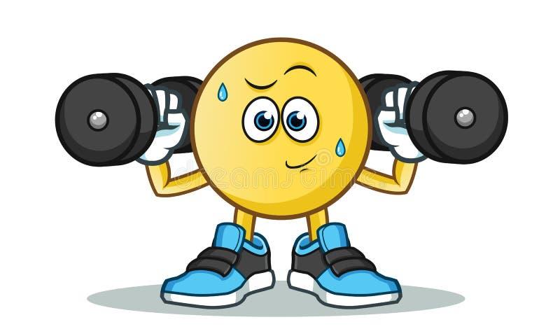 Ilustração dos desenhos animados do vetor do exercício do Emoticon fotografia de stock