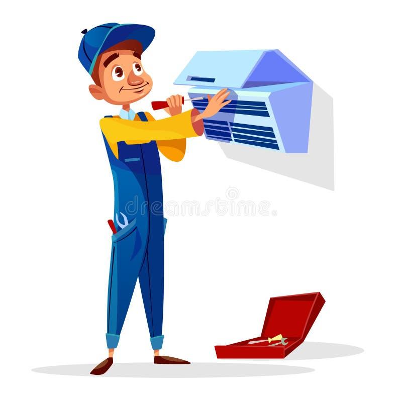 Ilustração dos desenhos animados do vetor do homem do reparo do condicionador de ar ilustração royalty free