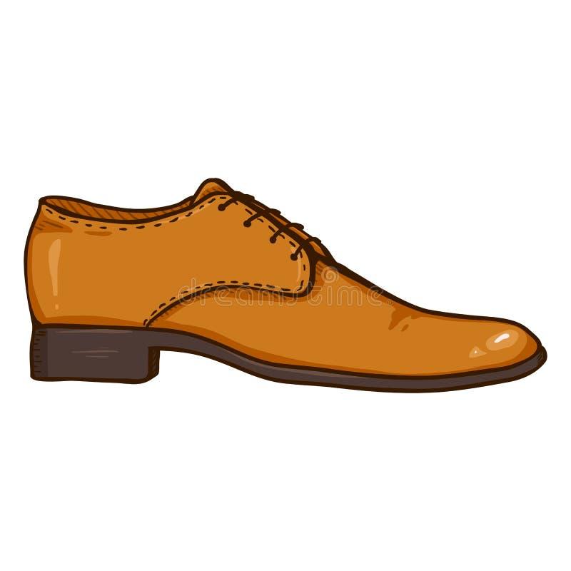 Ilustração dos desenhos animados do vetor - sapata de couro dos homens ilustração stock