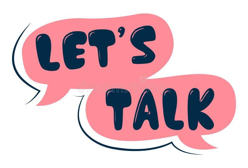 Ilustração dos desenhos animados do vetor do texto da conversa do ` s Let ilustração do vetor