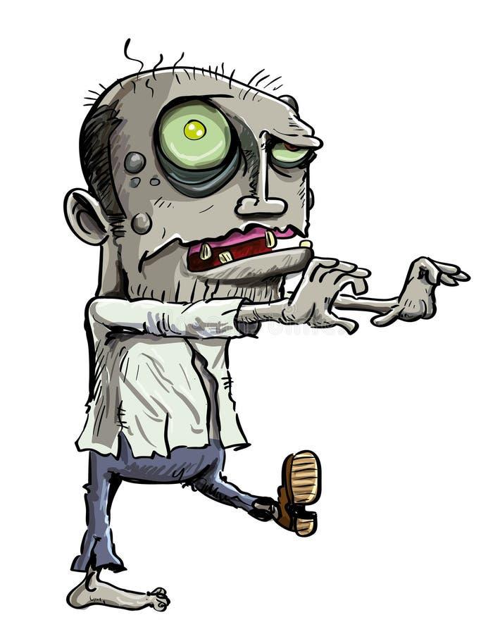 Ilustração dos desenhos animados do zombi verde ilustração do vetor
