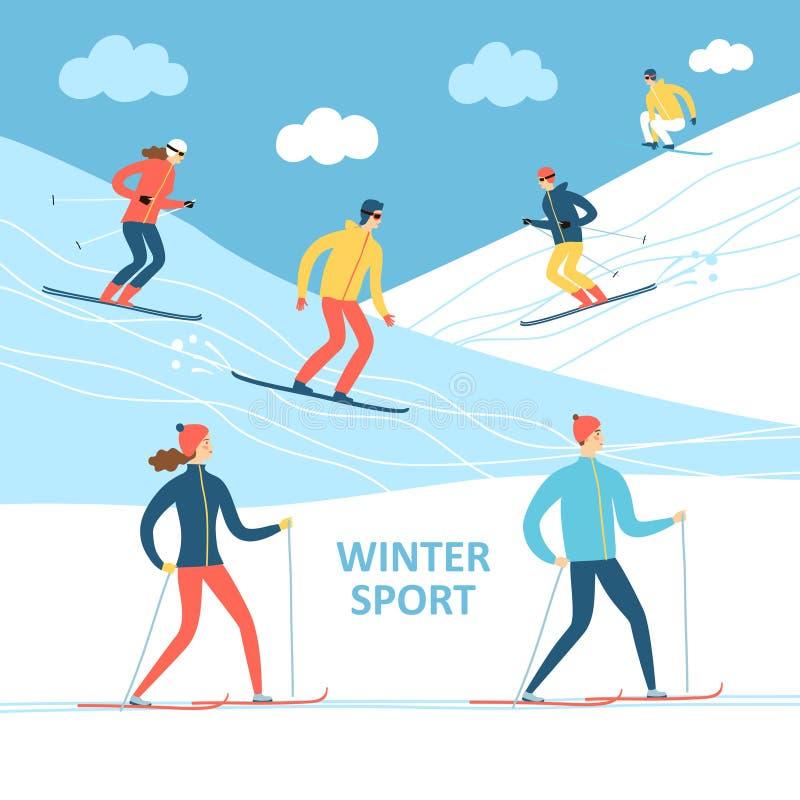 Ilustração dos desenhos animados dos atletas do inverno ilustração do vetor
