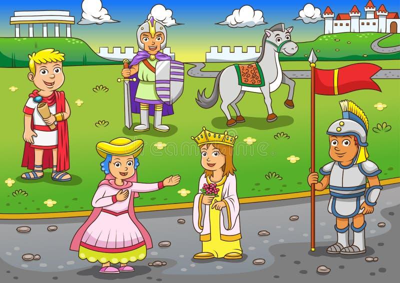 Ilustração dos desenhos animados romanos gregos ilustração royalty free