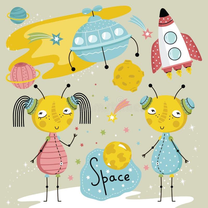 Ilustração dos desenhos animados sobre o espaço ilustração do vetor