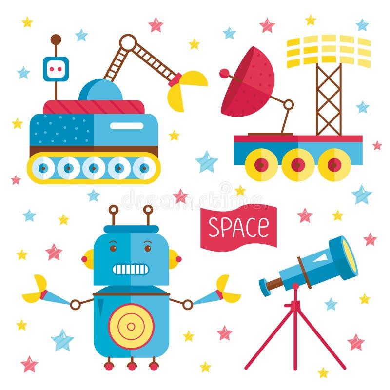 Ilustração dos desenhos animados sobre o espaço ilustração stock