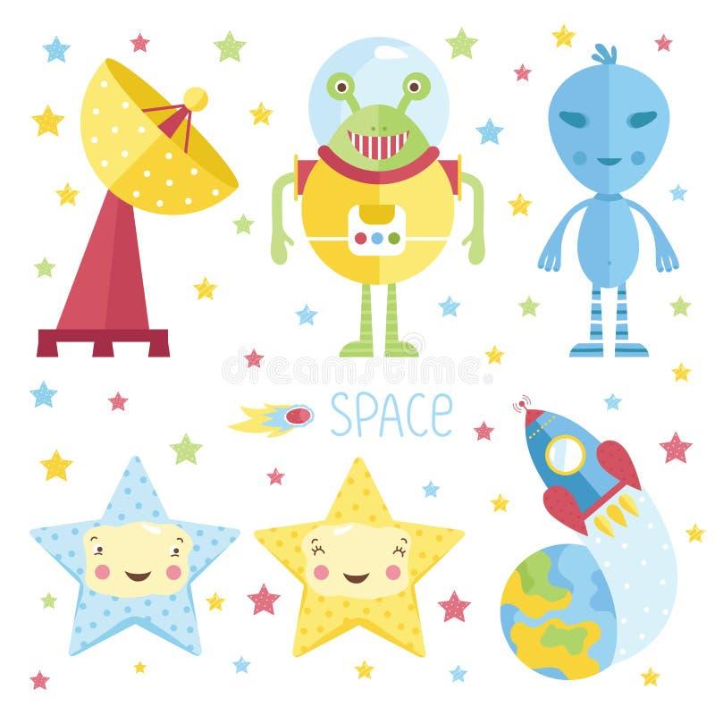 Ilustração dos desenhos animados sobre o espaço ilustração royalty free