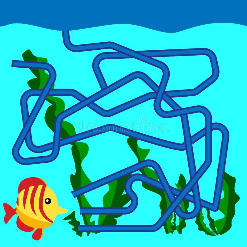 Ilustração dos desenhos animados dos trajetos ou do Maze Puzzle Activity Game Crianças que aprendem a coleção dos jogos ilustração stock