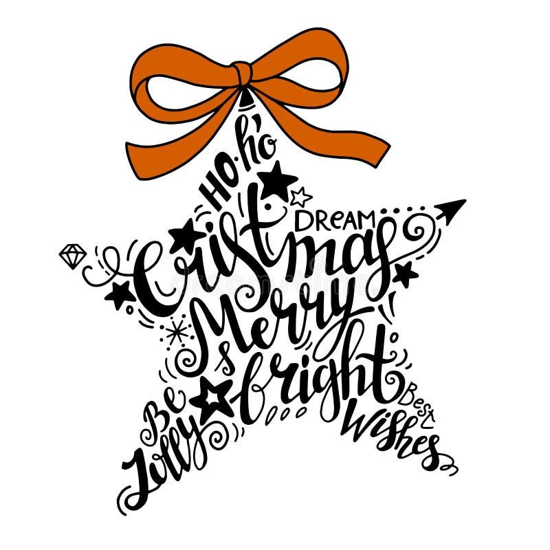 Ilustração dos feriados de inverno do vetor Estrela da silhueta do Natal com rotulação do cumprimento imagens de stock