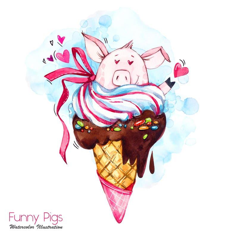 Ilustração dos feriados do cumprimento O porco dos desenhos animados da aquarela no cone de gelado com doces e ouve-se Sobremesa  ilustração royalty free