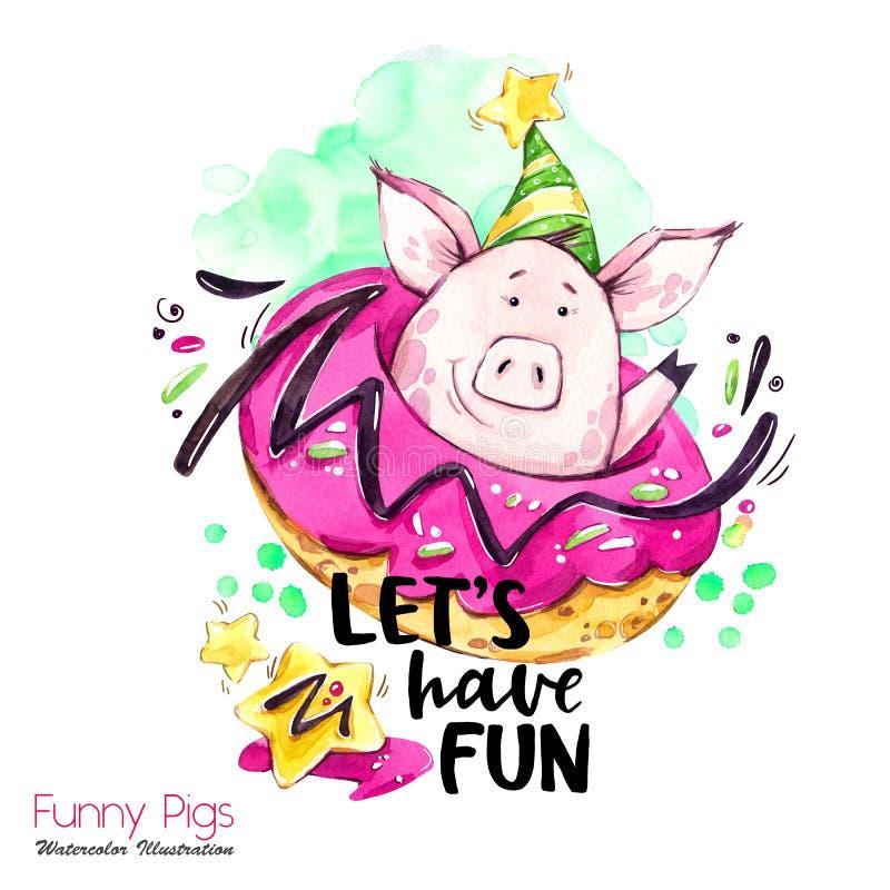 Ilustração dos feriados do cumprimento Porco dos desenhos animados da aquarela com rotulação e filhós do fim de semana Citações e ilustração royalty free