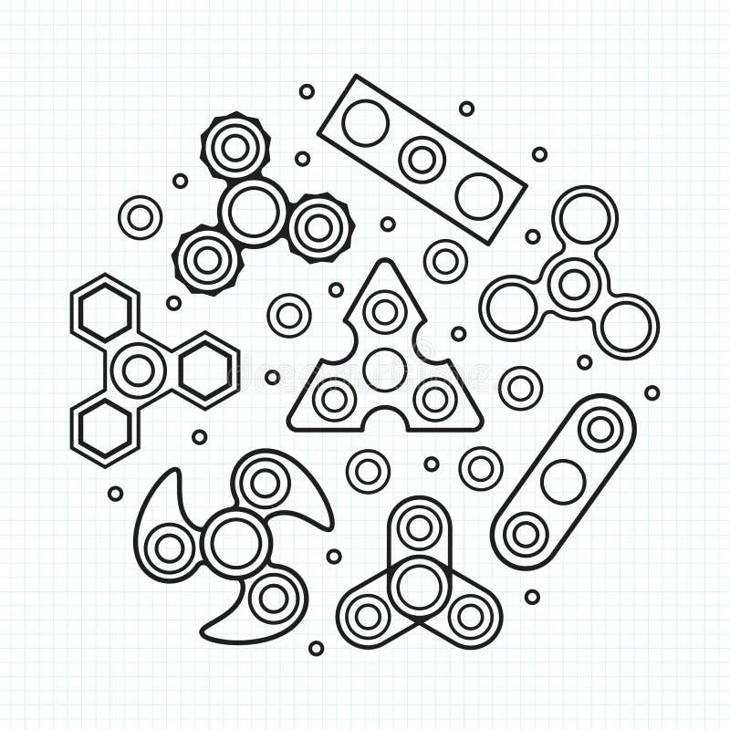 Ilustração dos giradores da mão Os ícones do vetor ajustaram-se ilustração do vetor