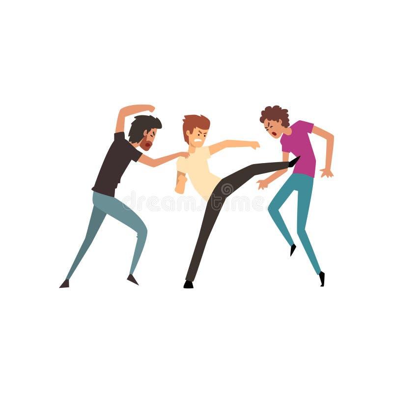 Ilustração dos homens que lutam e que discutem, a agressiva e a violenta do comportamento do vetor em um fundo branco ilustração stock