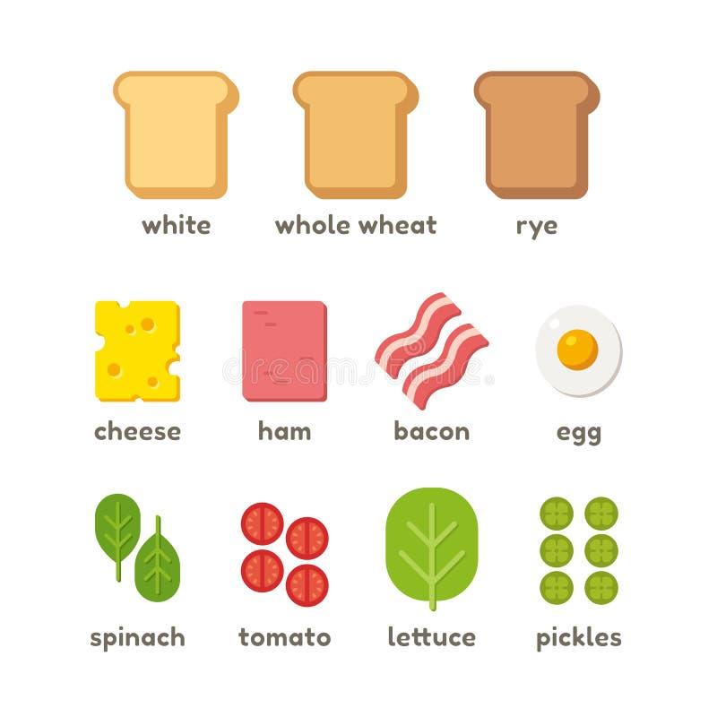 Ilustração dos ingredientes do sanduíche ilustração royalty free