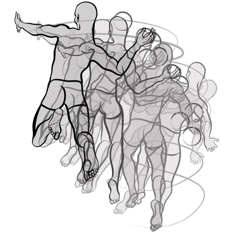Ilustração dos jogadores do handball no fundo branco ilustração stock