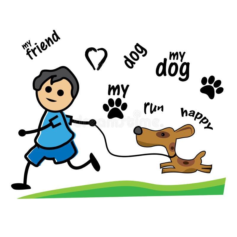 Ilustração dos meninos que jogam com cães ilustração do vetor