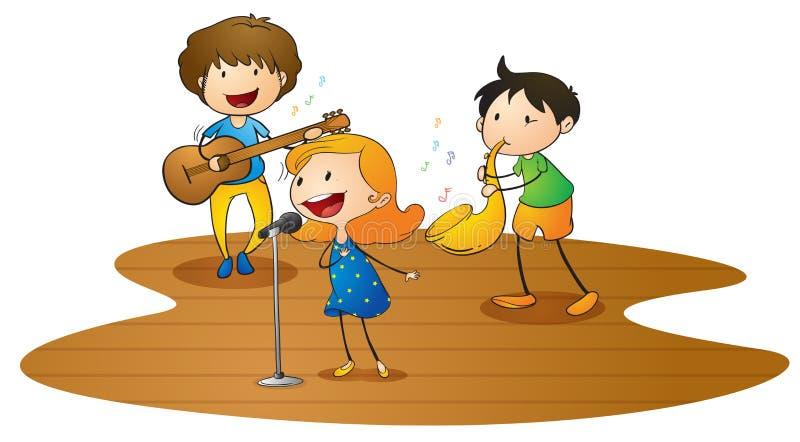Miúdos que jogam a música ilustração royalty free