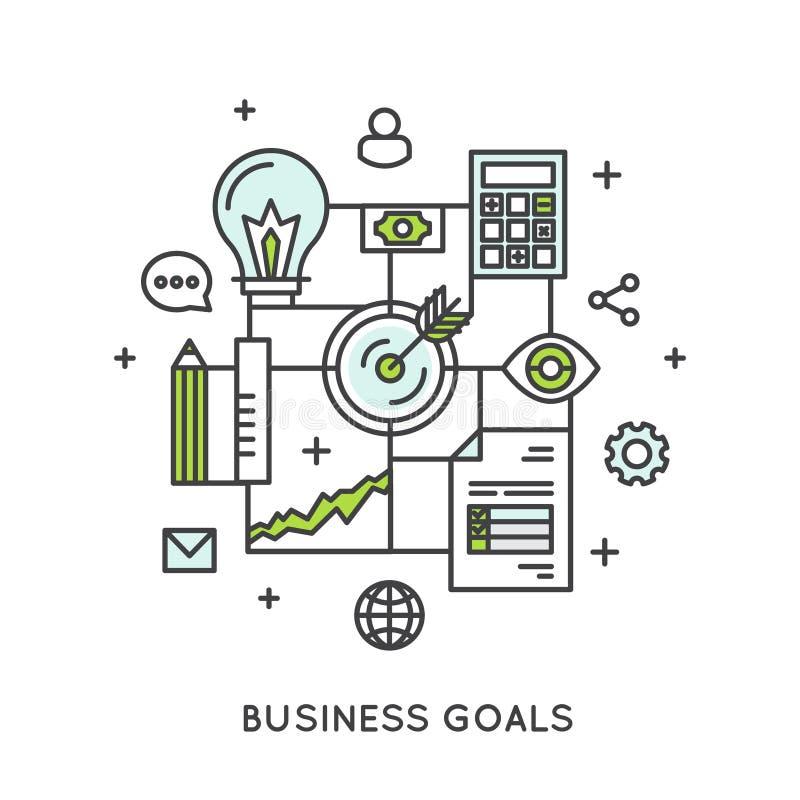Ilustração dos objetivos de negócios ilustração do vetor