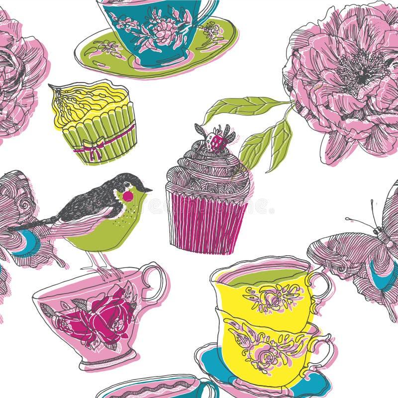 Ilustração dos pássaros, flores, queques, copos de chá ilustração do vetor