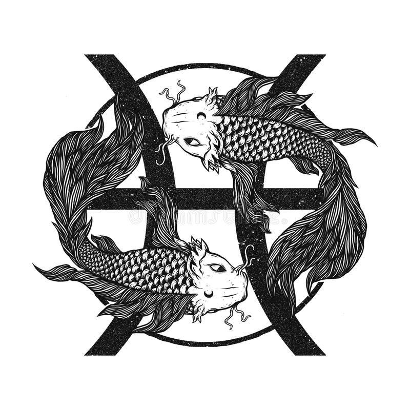 Ilustração dos Peixes preto e branco imagens de stock royalty free