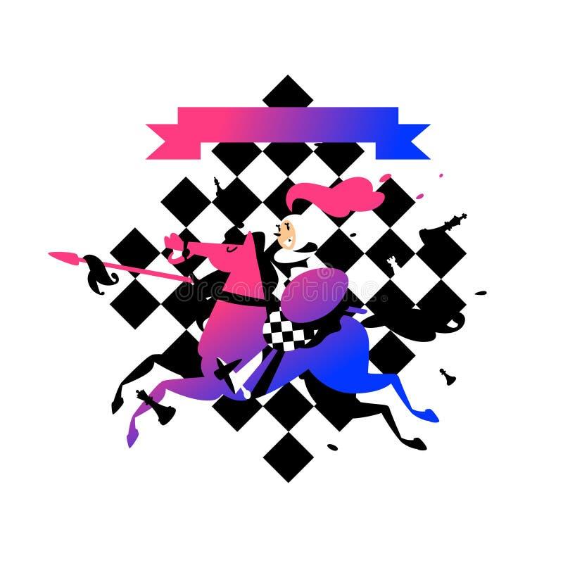 Ilustração dos penhores a cavalo com uma lança Ilustração do vetor Ilustração para o Web site, bandeira A imagem é isolada no bra ilustração royalty free