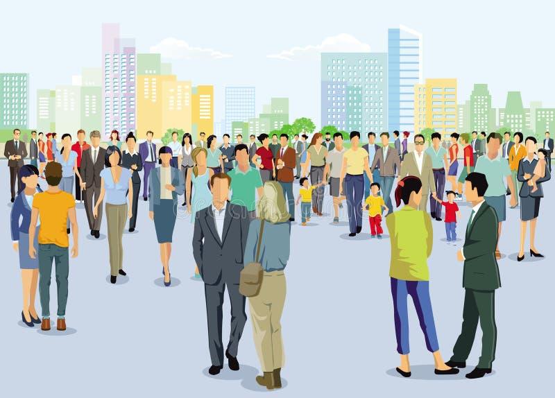 Ilustração dos povos de cidade ilustração royalty free