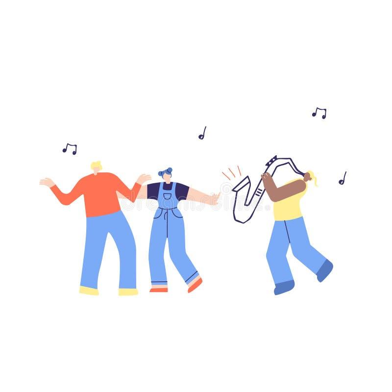 Ilustração dos povos e do saxofone da música de dança ilustração royalty free