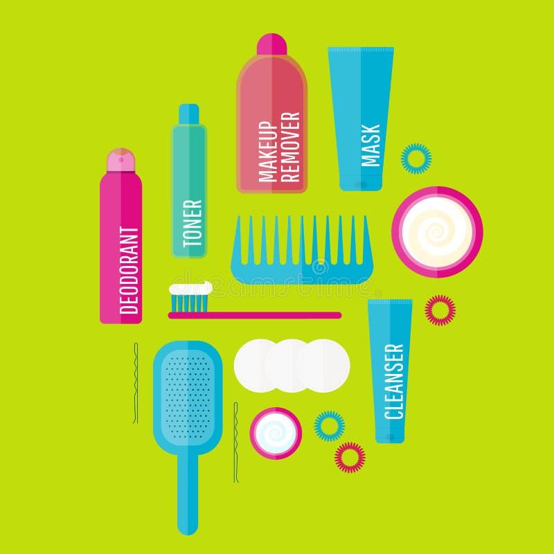 A ilustração dos produtos de beleza do vetor ajustou-se no estilo liso ilustração stock
