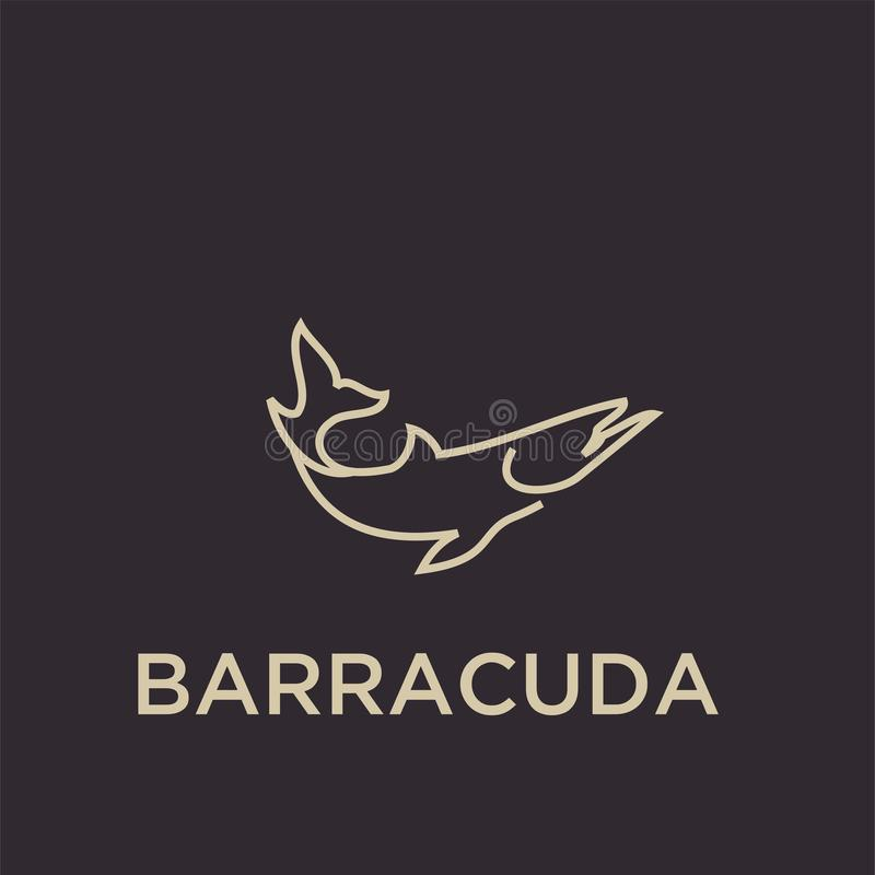 Ilustração dos projetos do ícone do logotipo dos peixes da barracuda imagens de stock royalty free