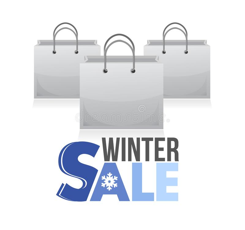 Ilustração dos sacos de compras da venda do inverno ilustração stock