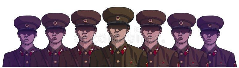 Ilustração dos soldados norte-coreanos que vestem o uniforme na cor ilustração royalty free