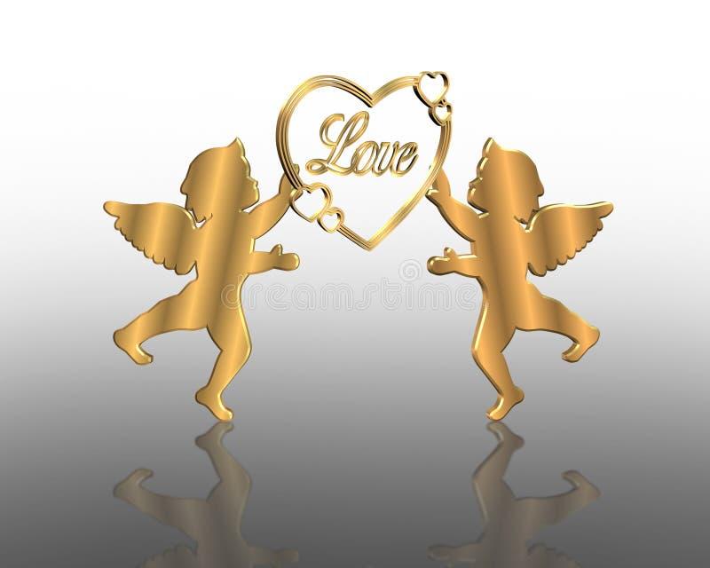 Ilustração dourada 3D do Valentim dos Cupids ilustração do vetor
