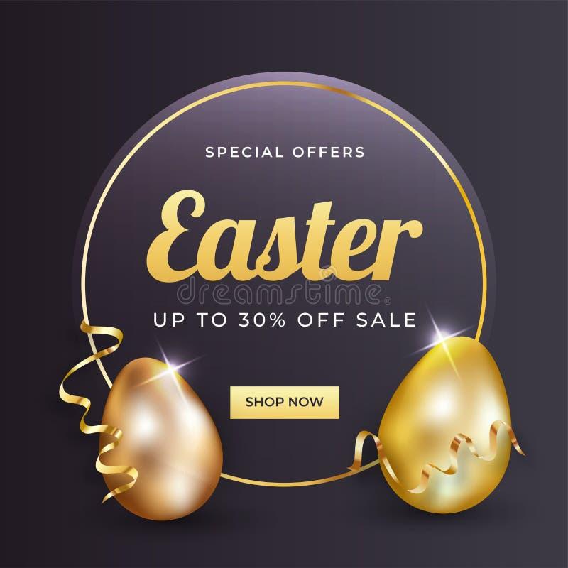 Ilustração dourada brilhante dos ovos da páscoa no fundo preto lustroso ilustração do vetor
