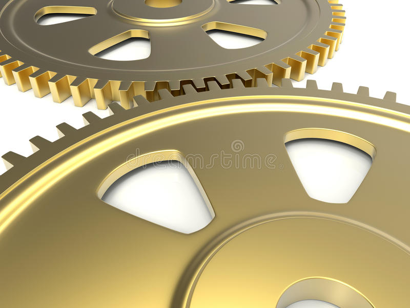 Ilustração dourada das engrenagens ilustração royalty free